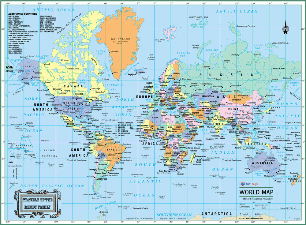 world wall map political poster 22 x17 large print laminated personalized 2018 ebay. Black Bedroom Furniture Sets. Home Design Ideas
