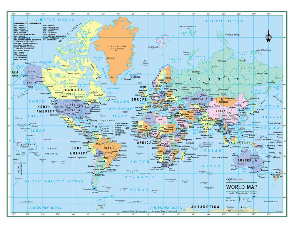 World Wall Map Political Poster 32 X24 Large Print Laminated 2019