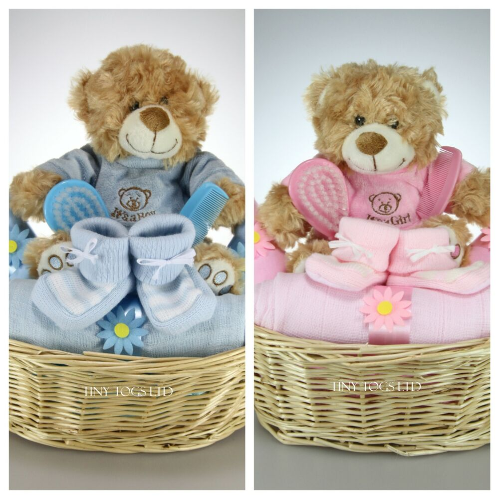 Homemade Baby Gifts Uk : It s a boy girl pink blue hamper gift basket nappy