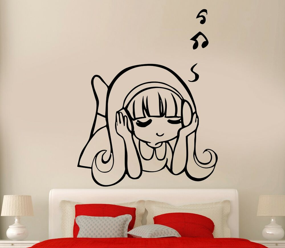 Wall decal headphones music sexy girl cool rock pop for bedroom z2744 ebay