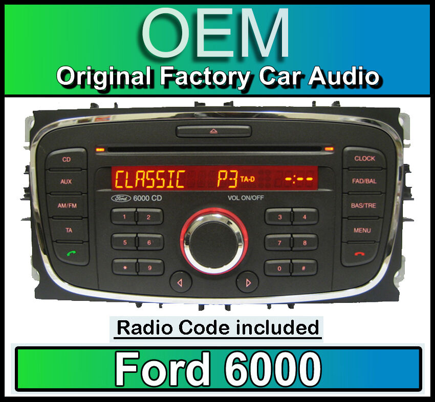 ford 6000 cd player ford transit car stereo headunit with radio code ebay. Black Bedroom Furniture Sets. Home Design Ideas