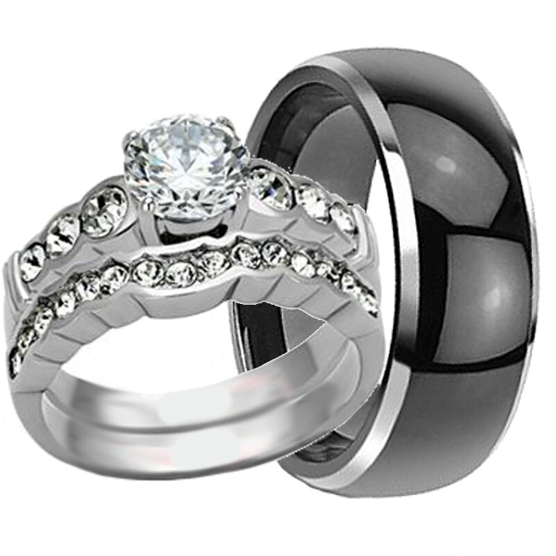 His hers 3 pc black tungsten mens wedding band ring set for 3pc wedding ring set