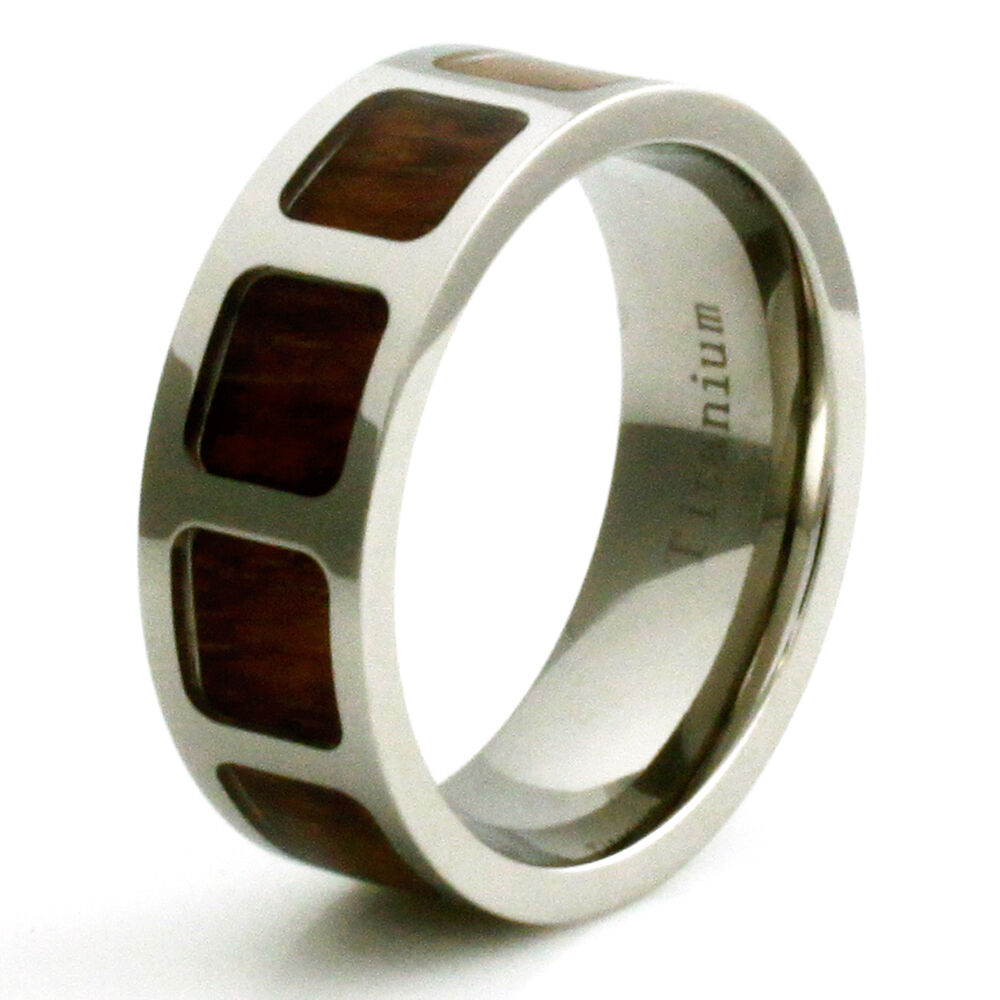 Male Wedding Bands Wood Inlay: Men's Titanium Mahogony Wood Inlay Pattern Wedding Band