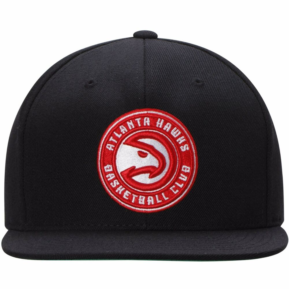 brand new cf154 a07d0 Details about Mitchell   Ness Atlanta Hawks Current Solid Wool Logo Snapback  Black Hat Cap NBA