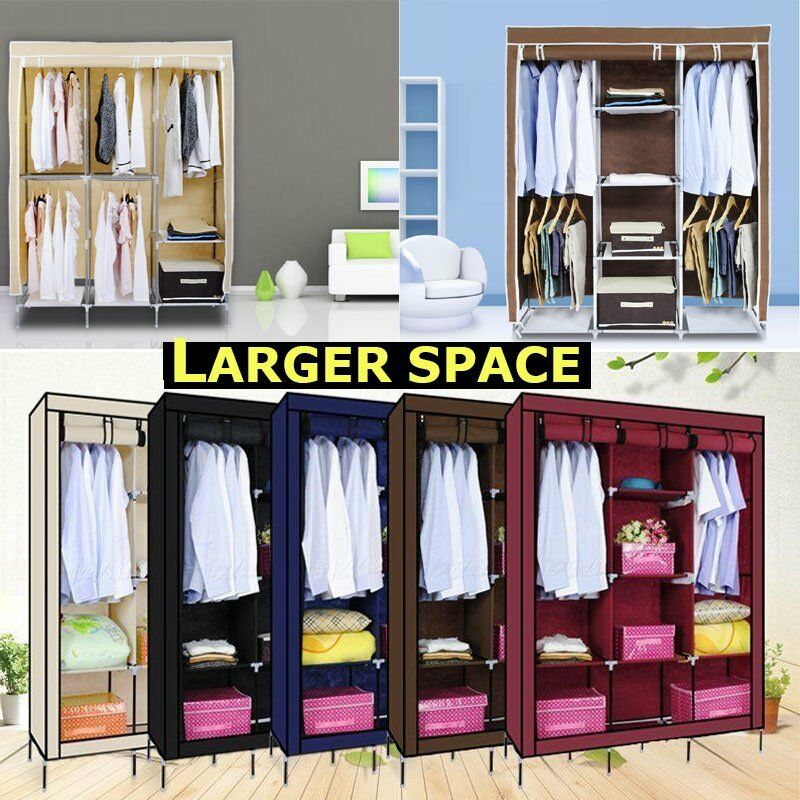 Canvas Storage Boxes For Wardrobes: Large Portable Canvas Wardrobe Hanging Rail Large Storage