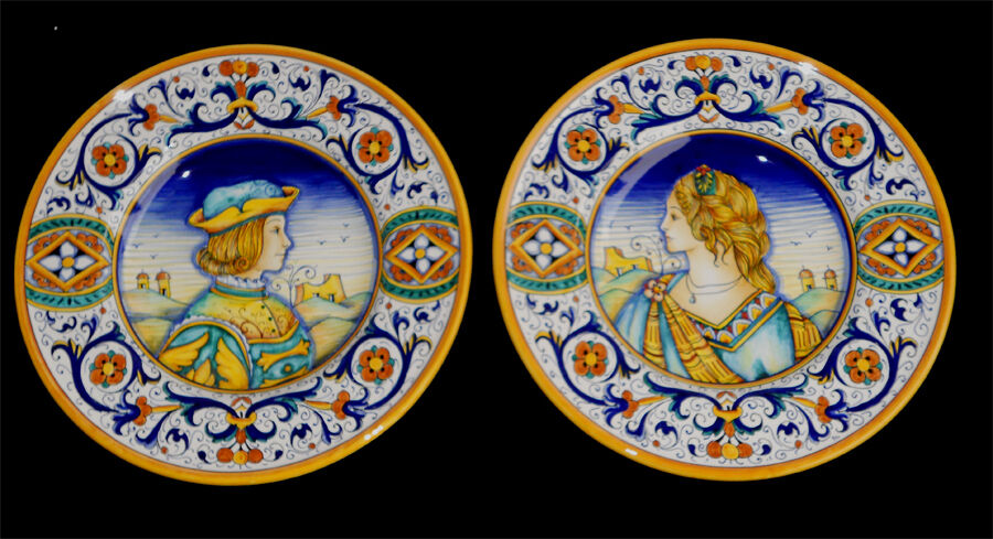 Deruta italian pottery hand painted portrait plates ebay for Hand painted portraits from photos