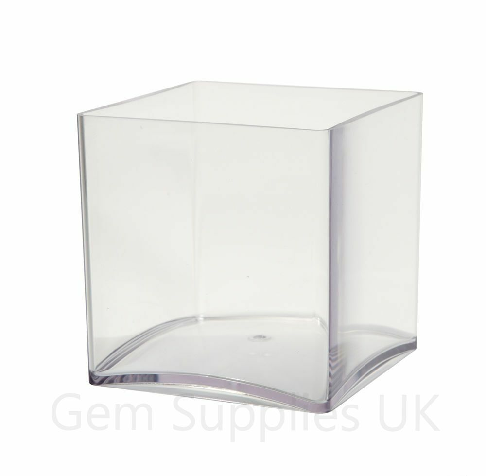 4 x 15cm oasis clear acrylic cube vases lightweight plastic square container 6 ebay. Black Bedroom Furniture Sets. Home Design Ideas