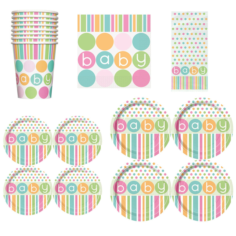baby shower unisex party tableware supplies girl or boy napkins plates