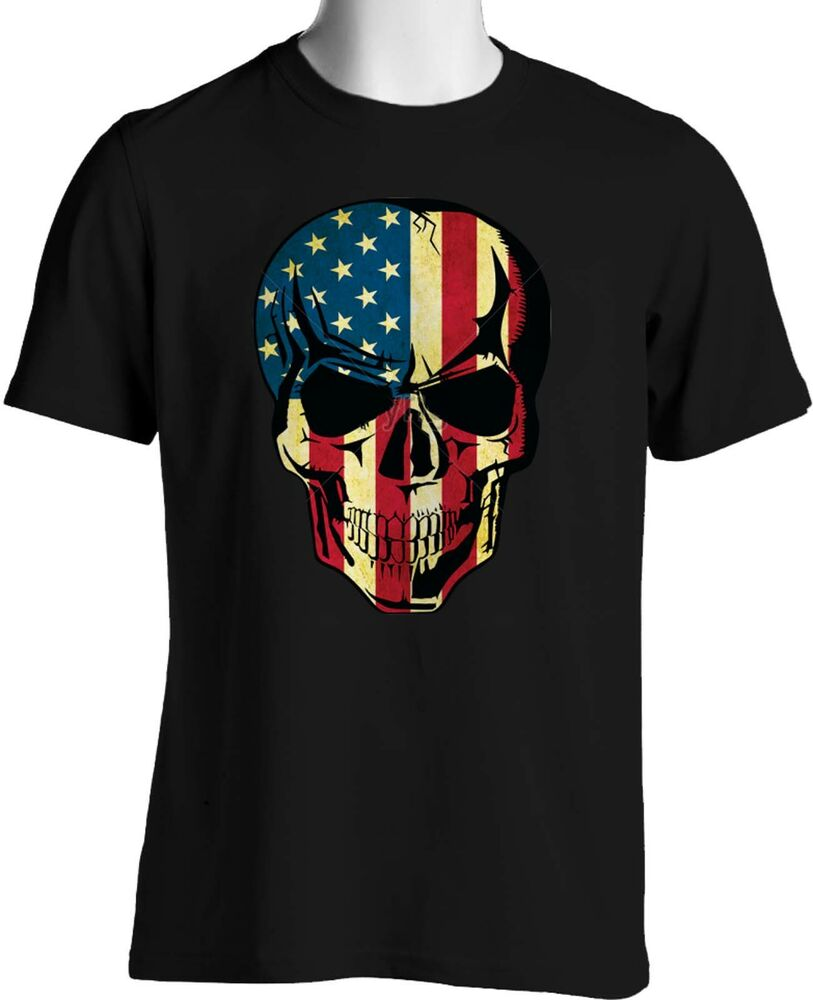 patriotic american flag skull t shirt stars stripes mens