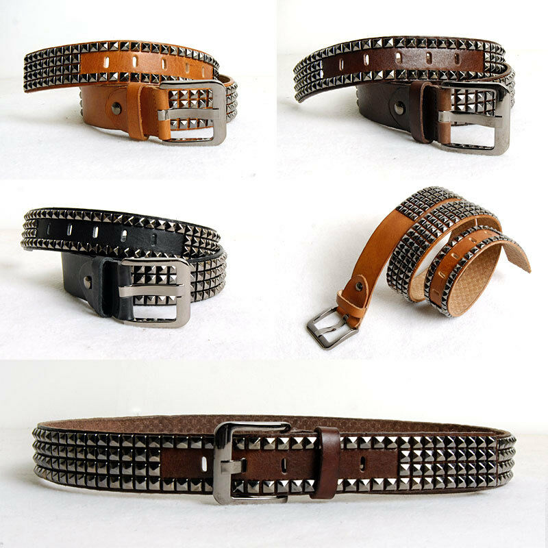 mens genuine leather pyramid studded belt cowhide 2 quot width