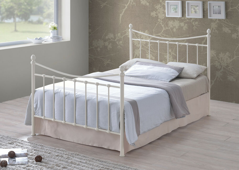 Victorian Style Metal Bed Frames : New alderley ft double ivory victorian style sprung