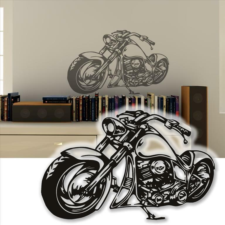 wandtattoo harley wandsticker motorrad custom bike. Black Bedroom Furniture Sets. Home Design Ideas