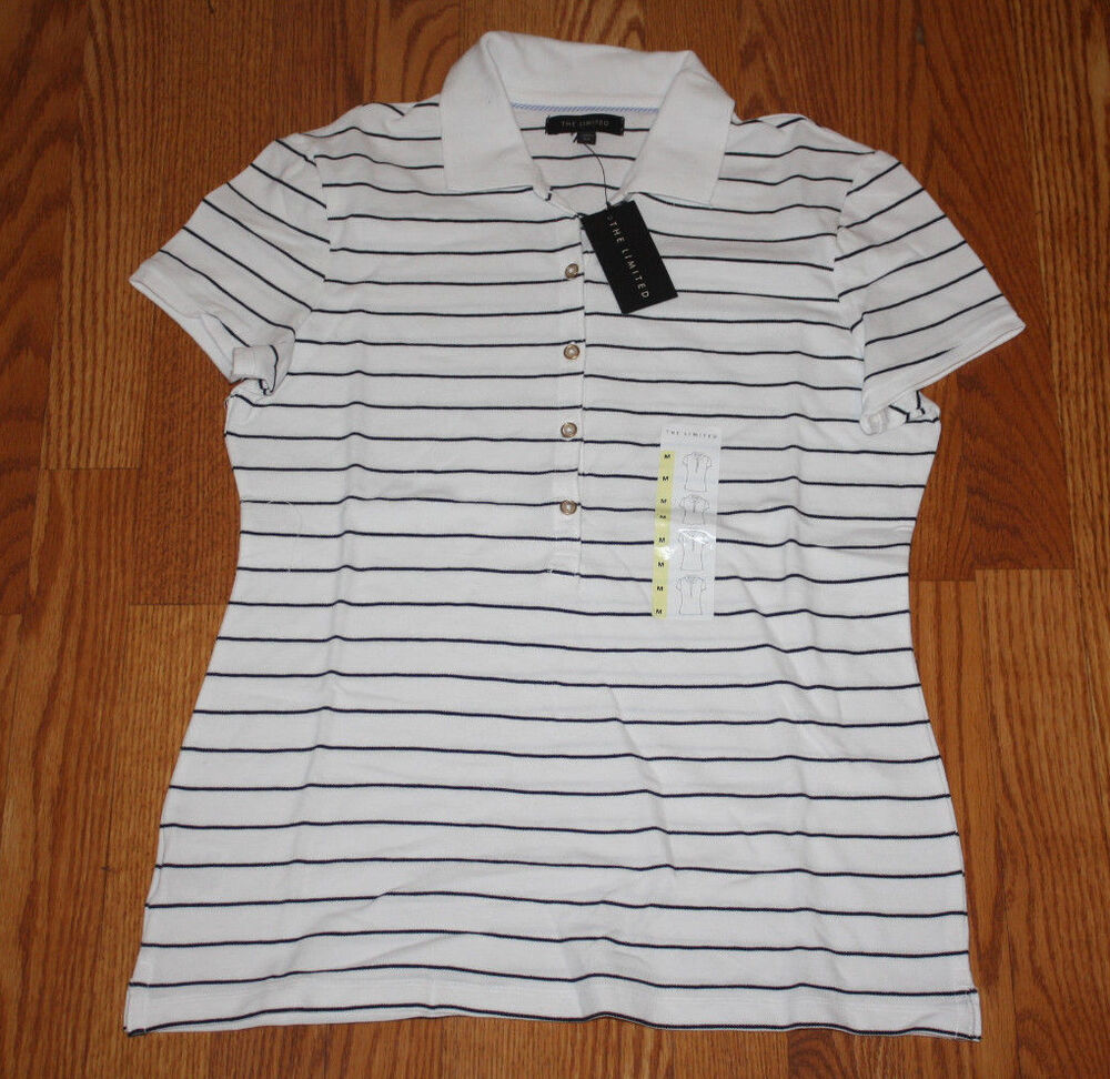 Nwt womens limited white black striped short sleeve polo for H m polo shirt womens