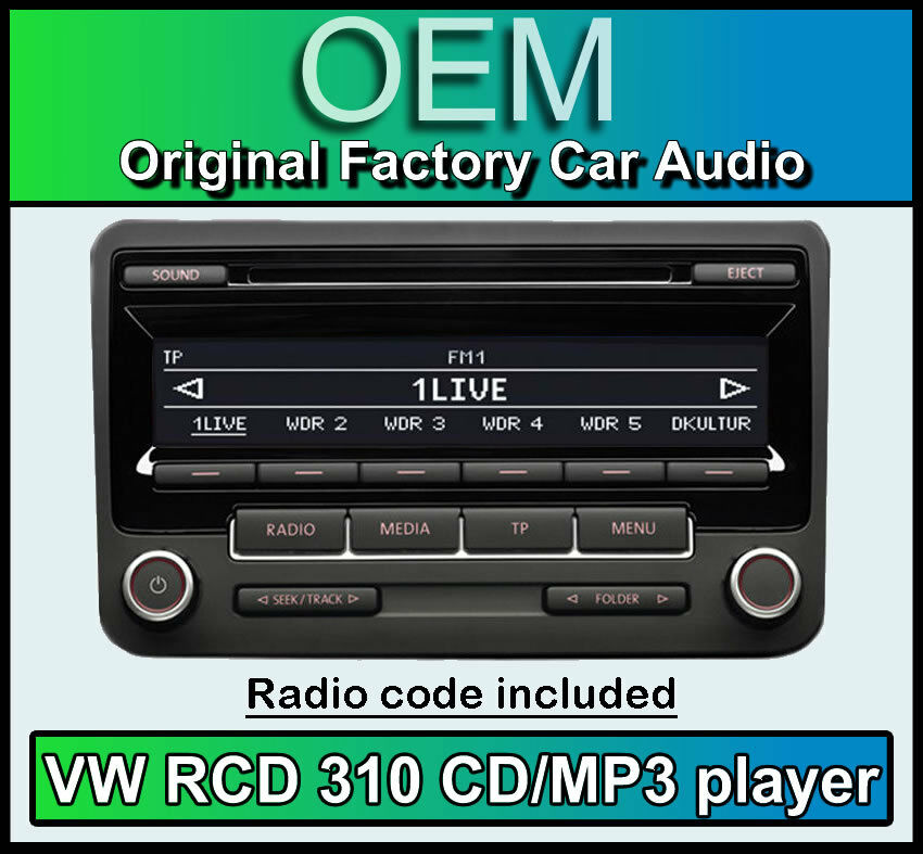 vw rcd 310 cd mp3 player vw transporter t5 car stereo headunit with radio code ebay. Black Bedroom Furniture Sets. Home Design Ideas