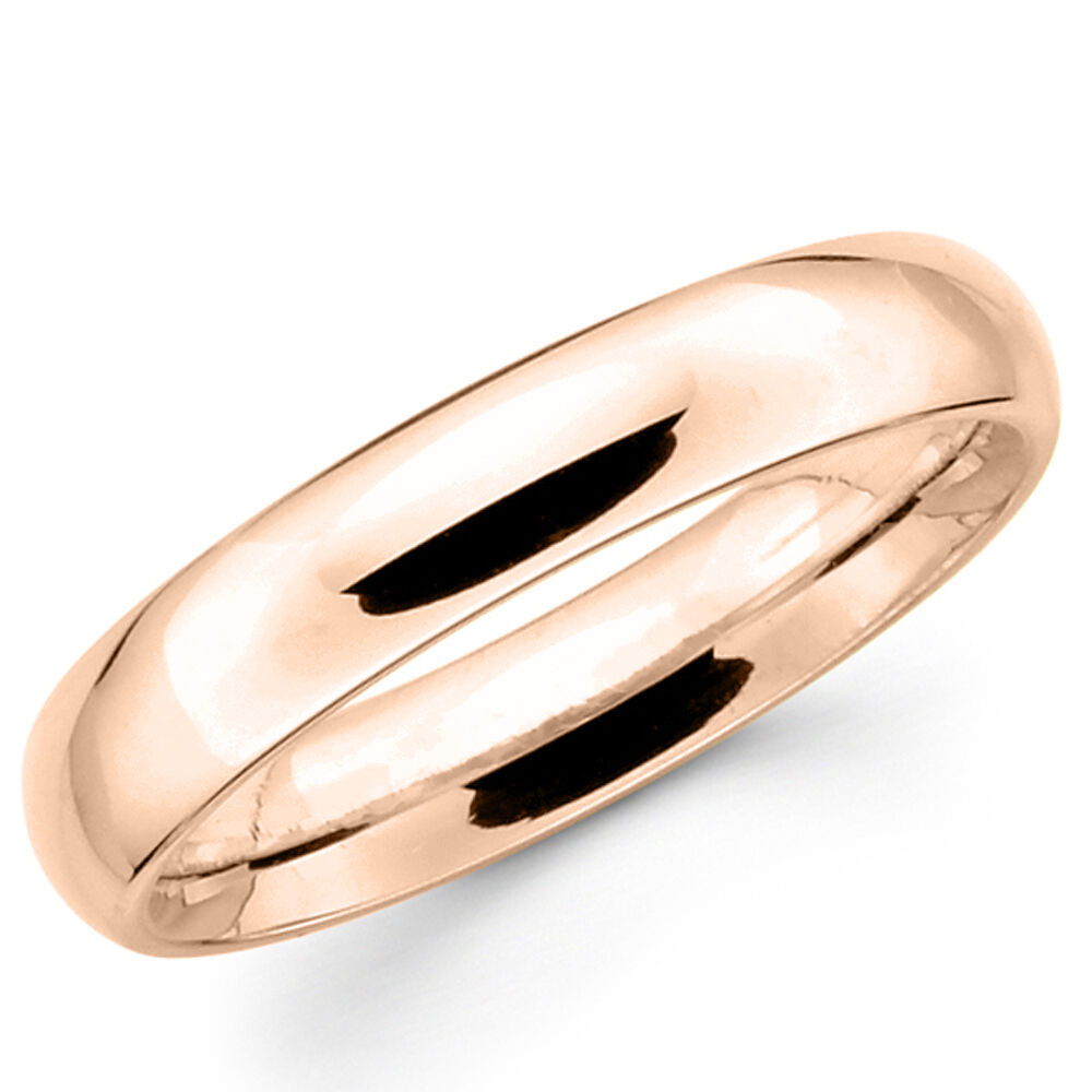 14k Solid Rose Gold 4mm Plain Men S And Women S Wedding