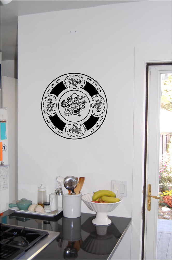 Decorative Plate Wall Sticker Wall Art Kitchen Decor Vinyl ...