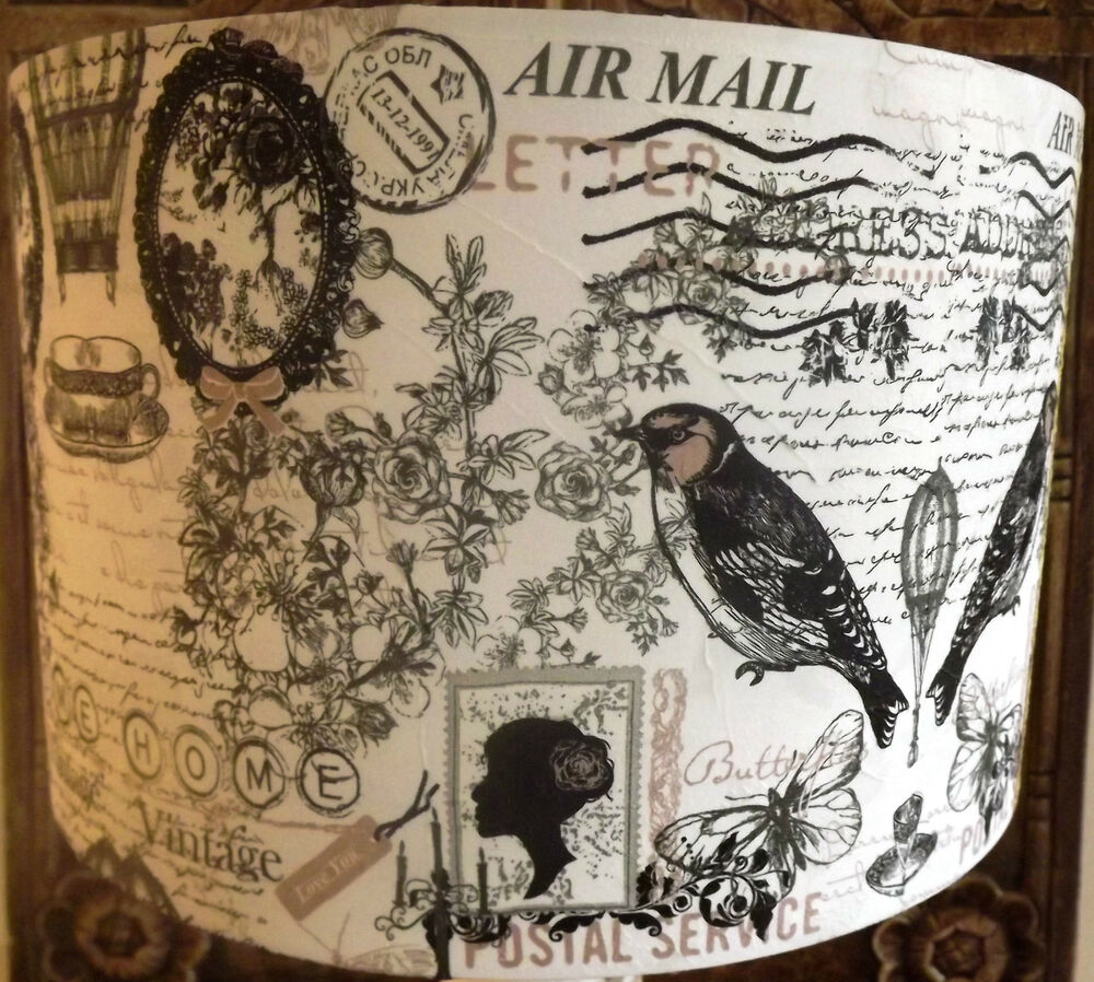 Shabby chic lamp shade,lampshade vintage postcard bird ...