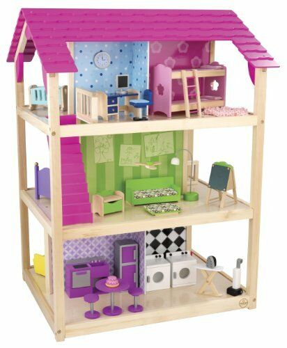 Brand New Kidkraft So Chic Dollhouse With 45 Pieces Of Furniture Ebay