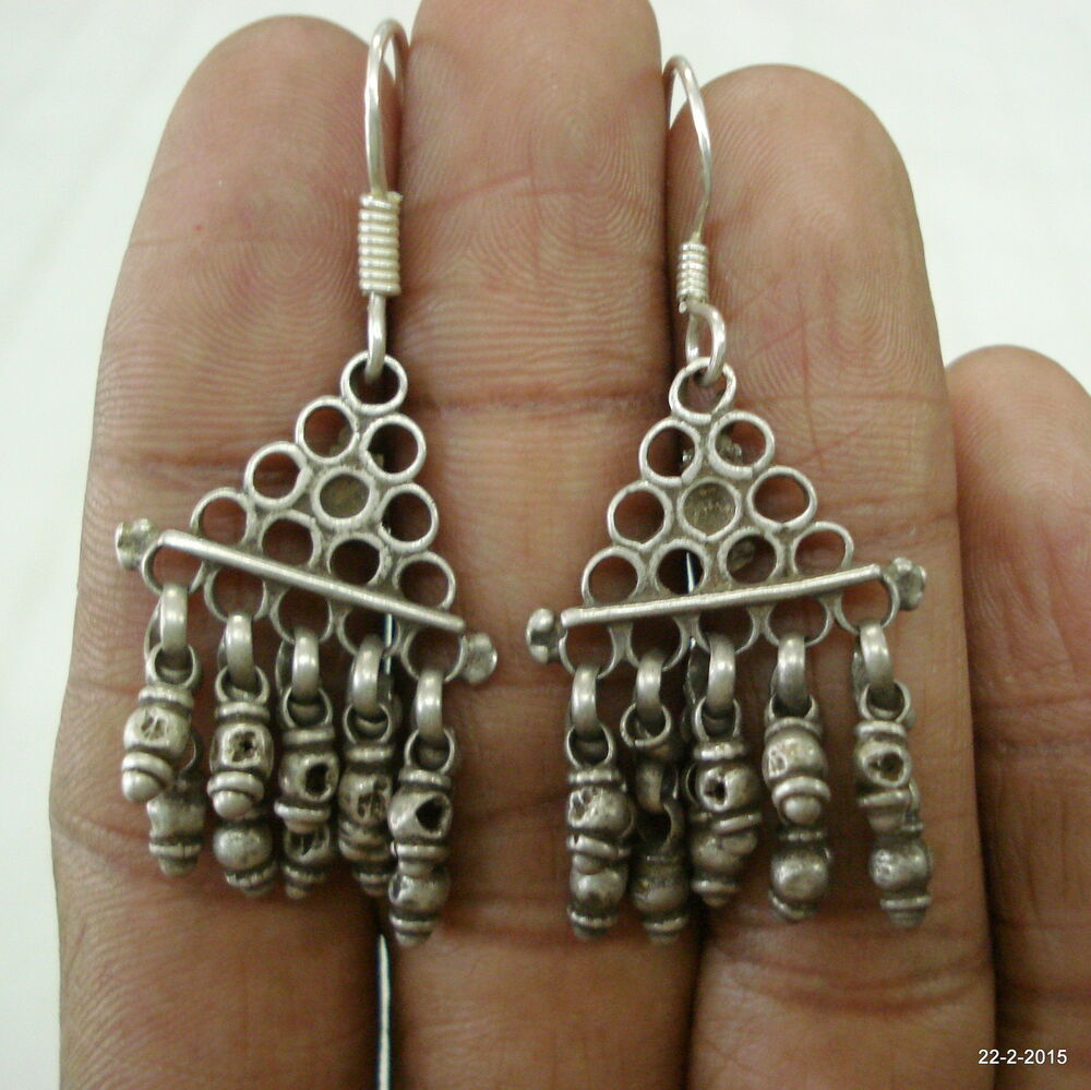 vintage antique tribal old silver earrings traditional ...