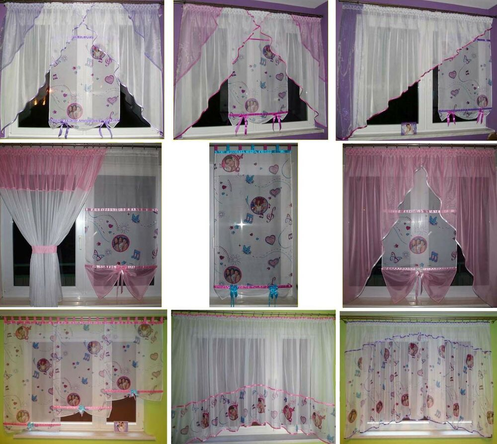 disney violetta gardine f r m dchen kinderzimmer schlaufen rosa lila violett neu ebay. Black Bedroom Furniture Sets. Home Design Ideas