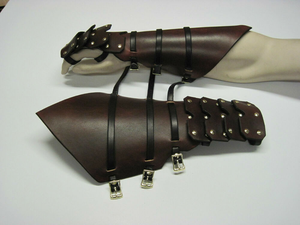 REVERSE CLAMSHELL GOTHIC LEATHER ARMOR GAUNTLETS LARP