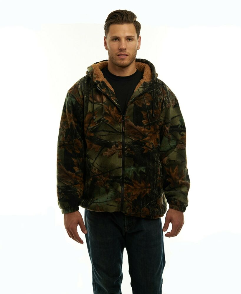 MEN'S SHERPA LINED CAMO FLEECE HUNTING JACKET - FULL ZIP ...