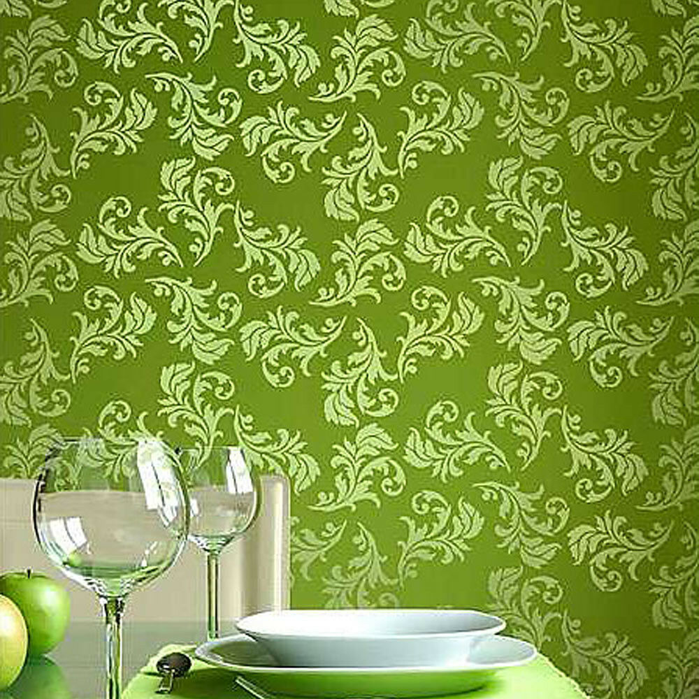 Alessa scroll allover wall stencil stencil pattern for for Decorative home