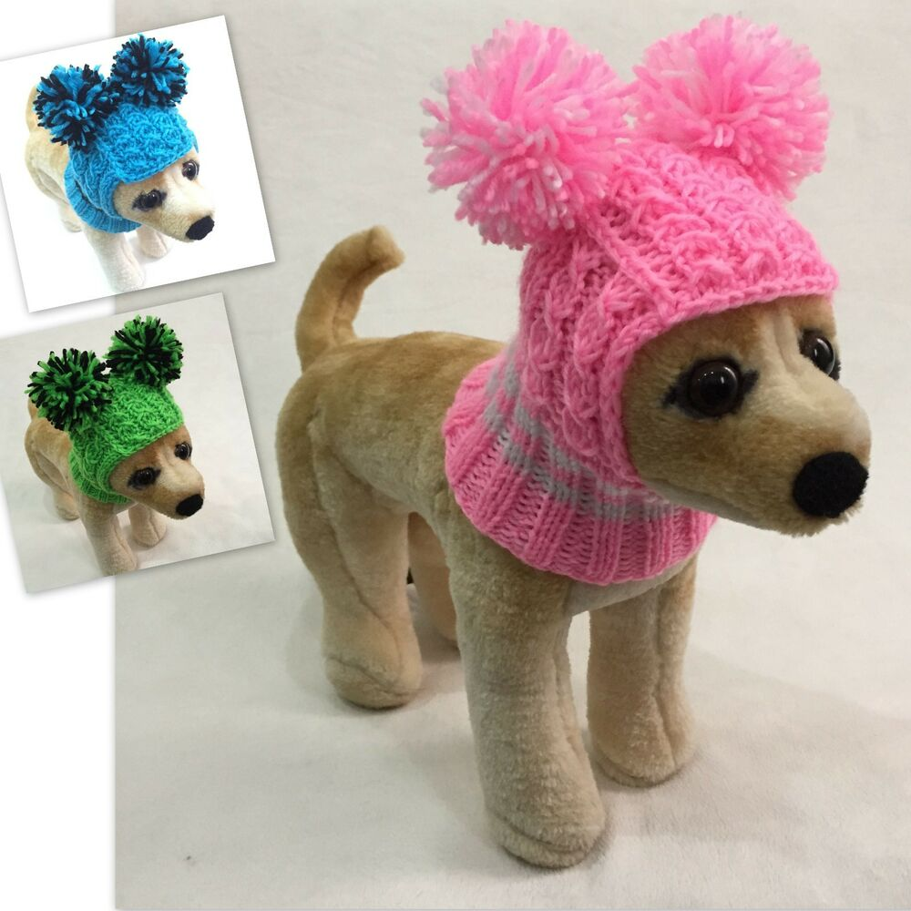 Knitting Dog Clothes : Handmade knit clothes pompom winter hat for dogs pets