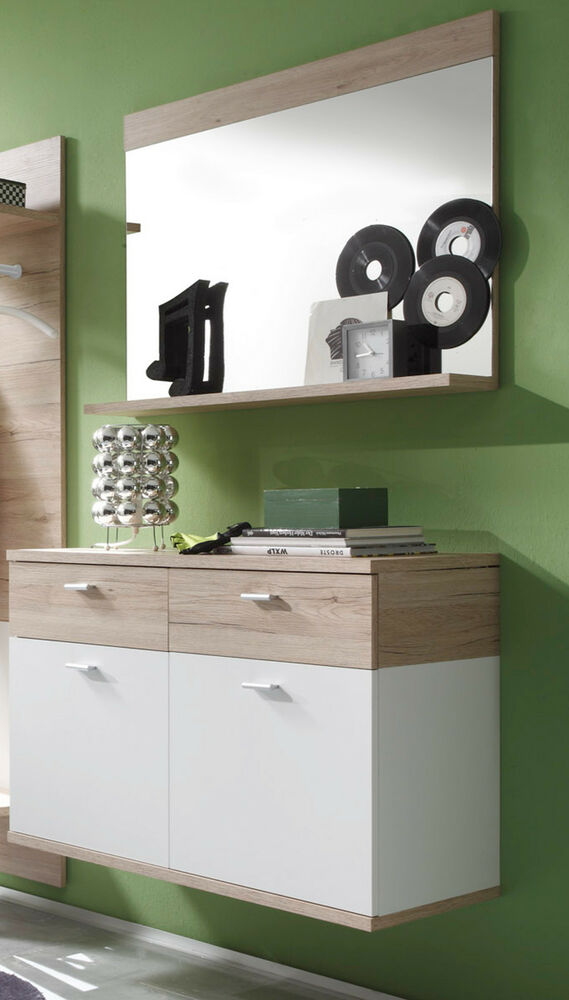 garderobe flurgarderobe set wei eiche schuhschrank h ngeschrank spiegel campus ebay. Black Bedroom Furniture Sets. Home Design Ideas