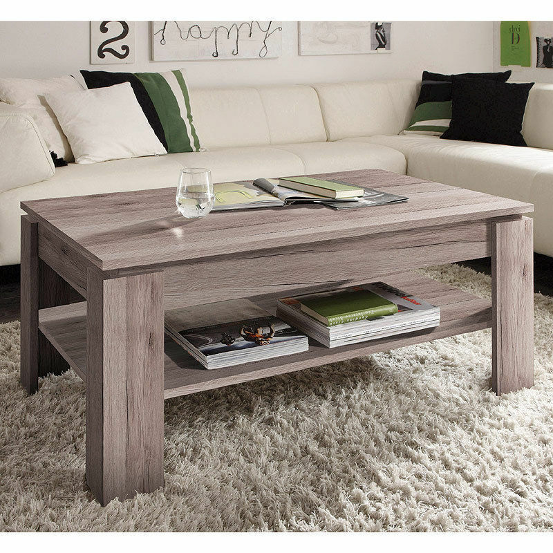 couchtisch beistelltisch eiche san remo dunkel ablage wohnzimmer holztisch 110 ebay. Black Bedroom Furniture Sets. Home Design Ideas