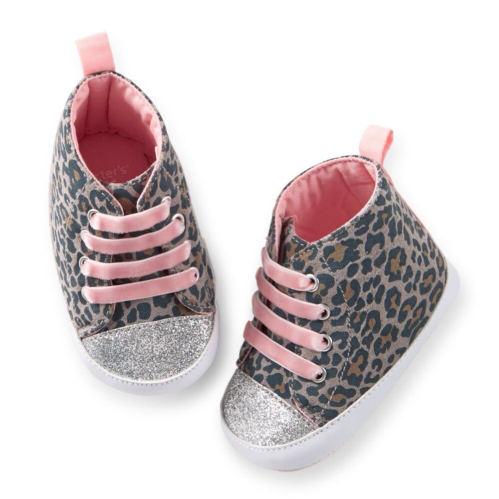 New Carter's Animal Print High Top Crib Shoes Leopard Pink ...