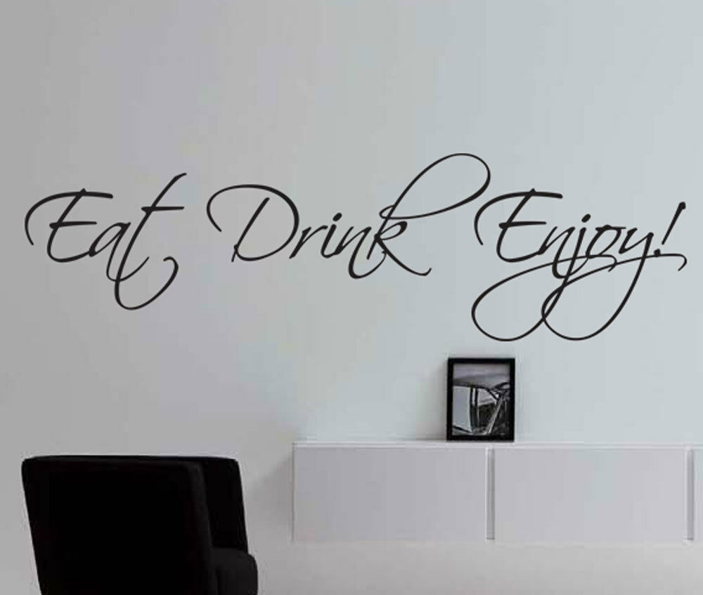 Eat Kitchen Decor Wall Decal : Eat drink enjoy wall art stickers quote vinyl decal for
