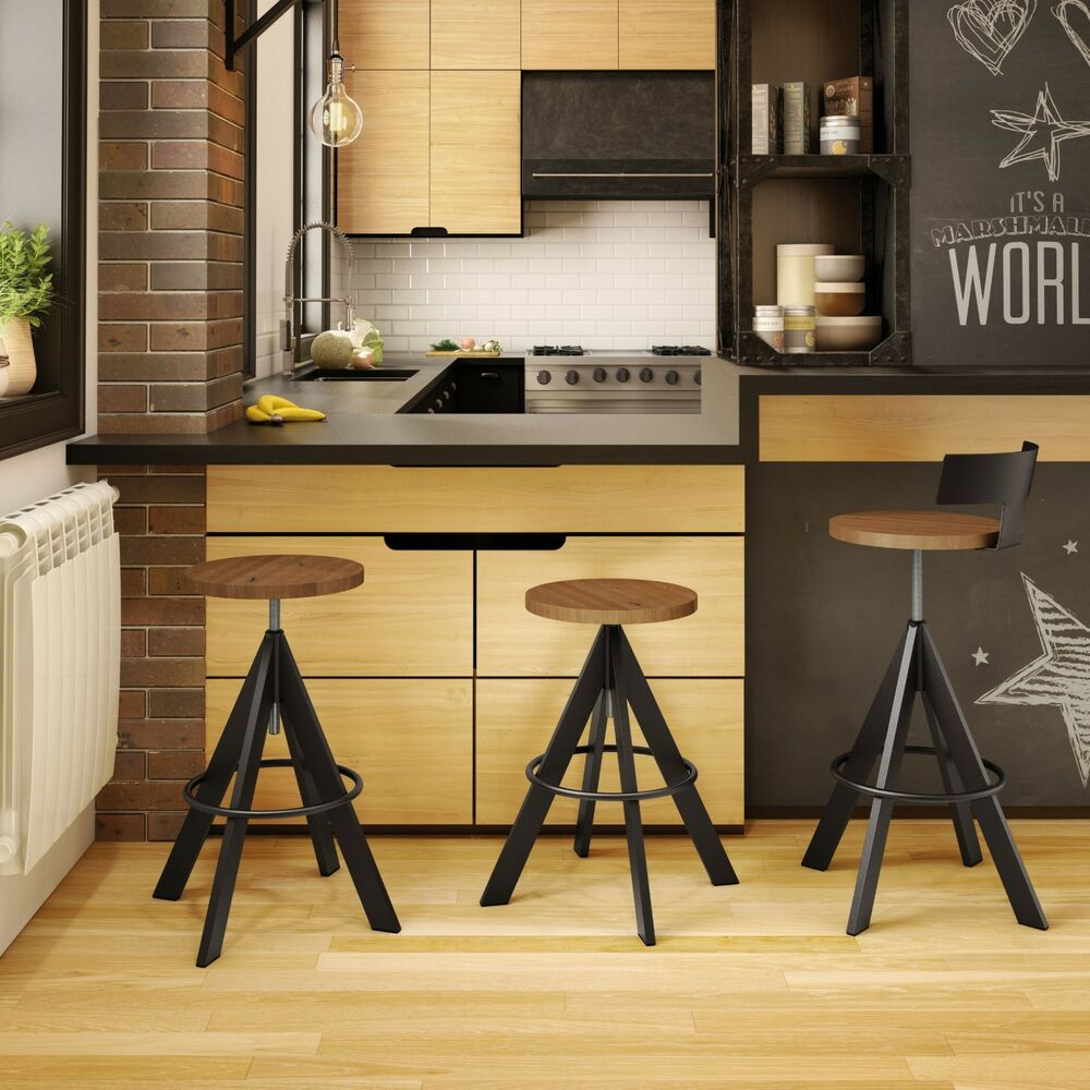 Amisco Uplift Backless Screw Adjustable Height Bar Stool