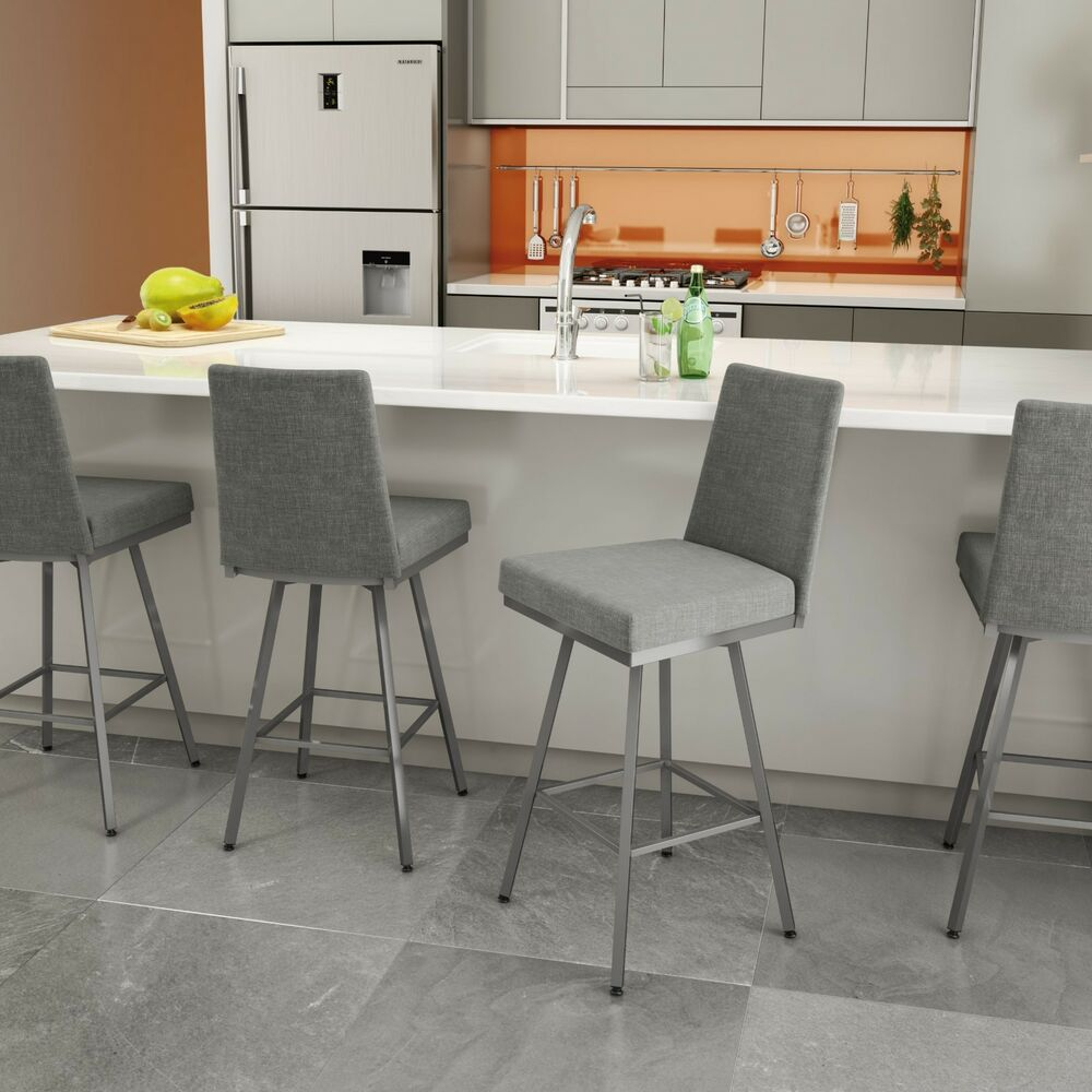 Amisco Linea Swivel Upholstered Counter Or Bar Stool