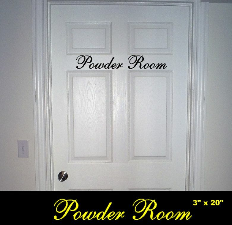 Bathroom Door Stickers : Powder room bathroom door vinyl wall decal sticker