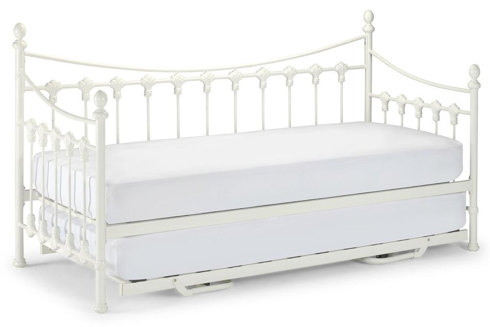 3ft Single Metal Sareer Daybed In Ivory With Trundle