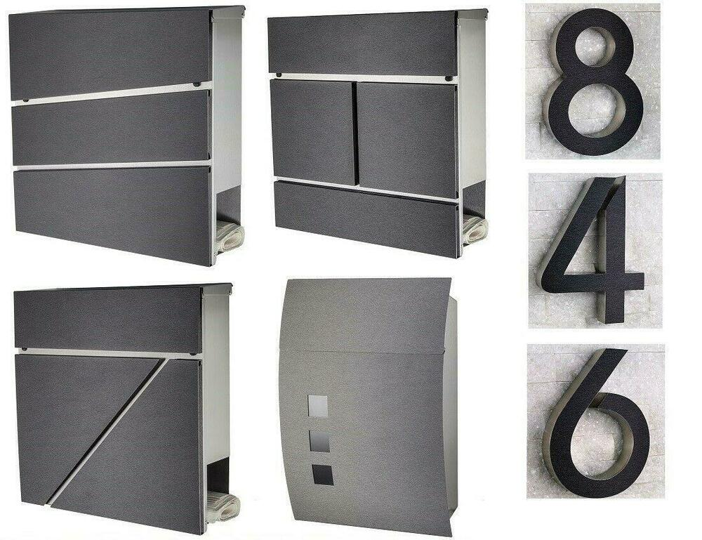 hausnummer briefkasten edelstahl h20cm arial 3d anthrazit schwarz grau ebay. Black Bedroom Furniture Sets. Home Design Ideas