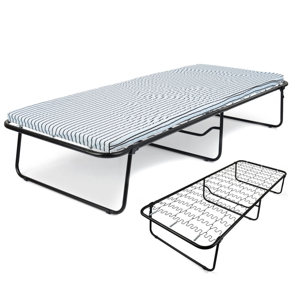 Folding single guest bed mattress compact metal fold away for Compact beds