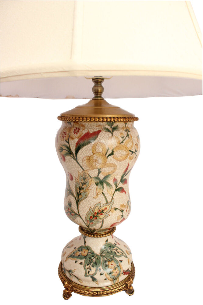 Vintage French Chinoiserie Crackled Porcelain Lamp With