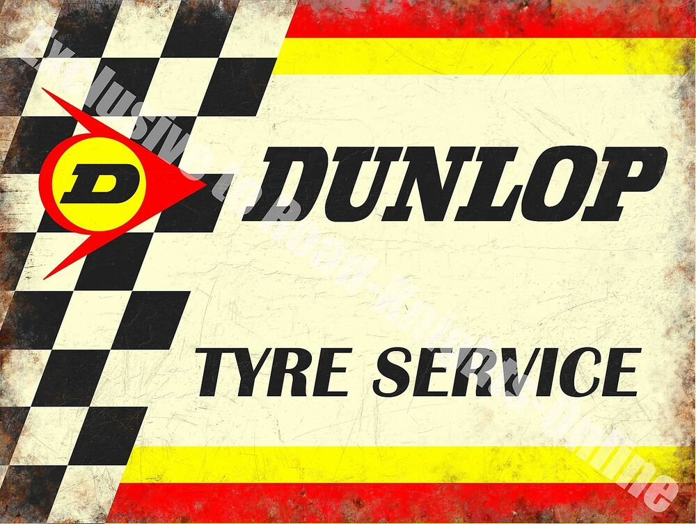 Car Old Garage Signs : Vintage garage dunlop tyres motorsport car racing old