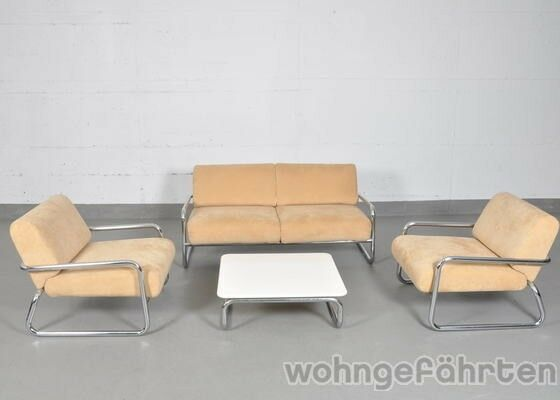 tecta sofa 2 sessel couchtisch 60er 70er stahlrohrklassiker design klassiker ebay. Black Bedroom Furniture Sets. Home Design Ideas