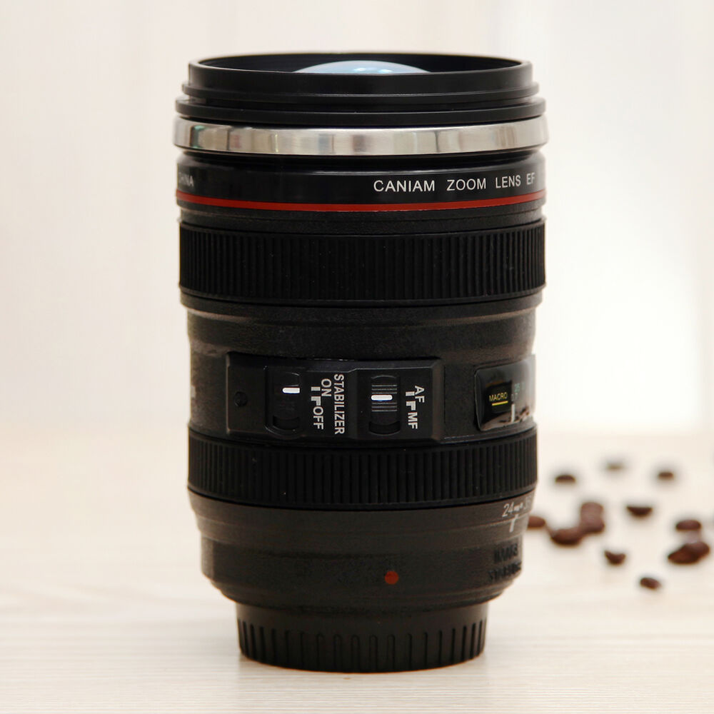 New camera lens thermos cup coffee stainless steel mug cup for Photo lens coffee cup