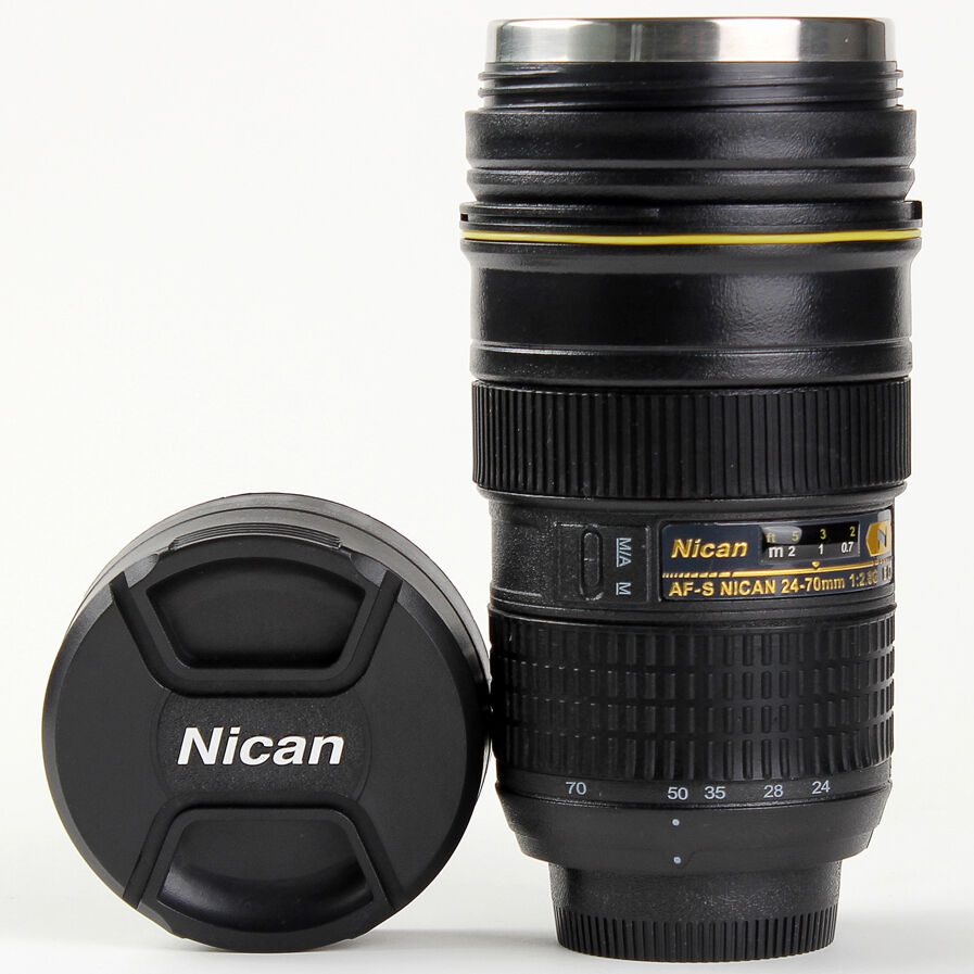 New 24 70 mm camera lens mug stainless steel coffee cup Nikon camera lens coffee mug