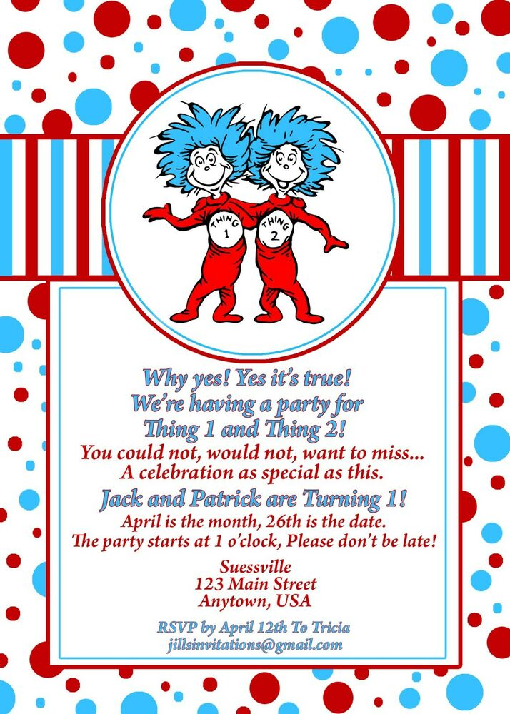 Details About Dr Seuss Birthday Invitation Invitations Thing 1 And 2