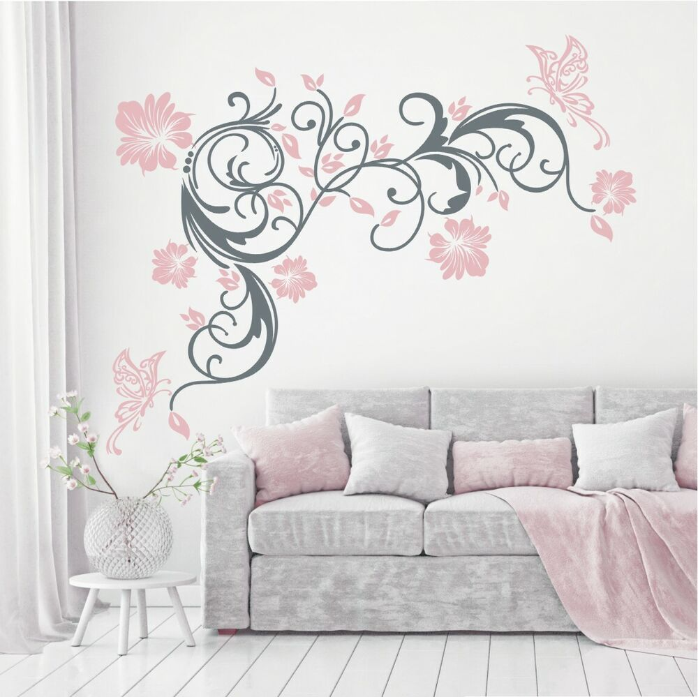 wandtattoo wandaufkleber blumen ranke 2 farbig schmetterlinge blumenranke 396 xl ebay. Black Bedroom Furniture Sets. Home Design Ideas