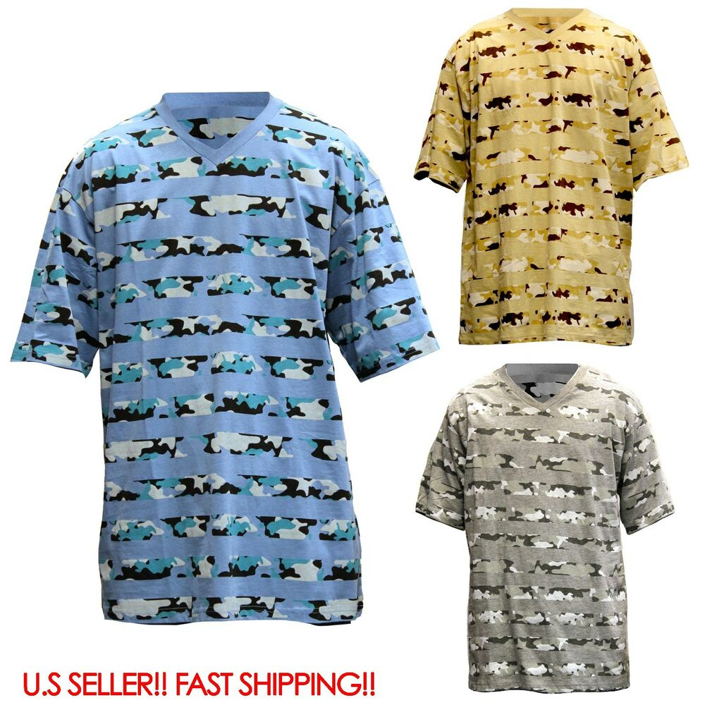men camouflage camo army v neck t shirt camoflauge mens t tee shirt xl 4xl ebay. Black Bedroom Furniture Sets. Home Design Ideas