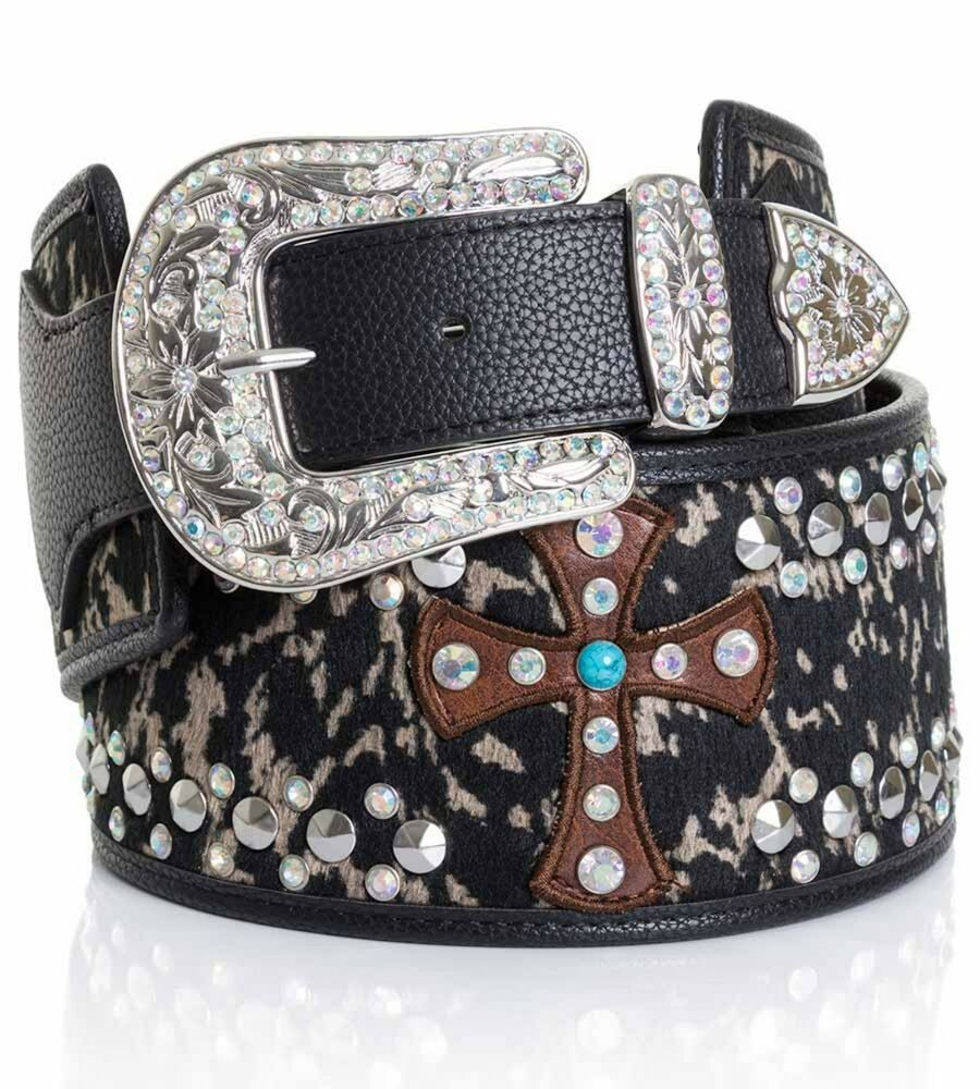 leather wide ab rhinestone cross turquoise western