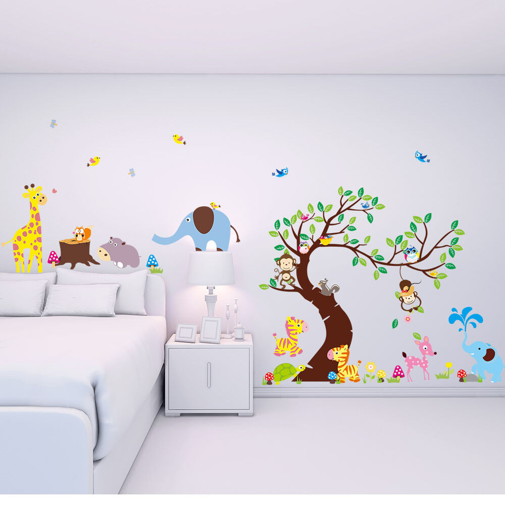 wandtattoo wandsticker tiere zoo spielzimmer kinderzimmer riesig gro xxxxl 33 ebay. Black Bedroom Furniture Sets. Home Design Ideas