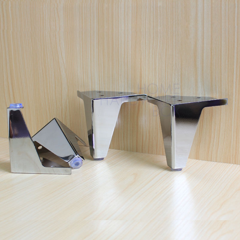 4 Pcs Furniture Cabinet Metal Legs Corner Feet Stainless Steel Chrome Polish Ebay