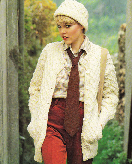 Easy Aran Cardigan Knitting Pattern : KNITTING PATTERN -Ladies EASY KNIT Aran Cardigan Pattern ...